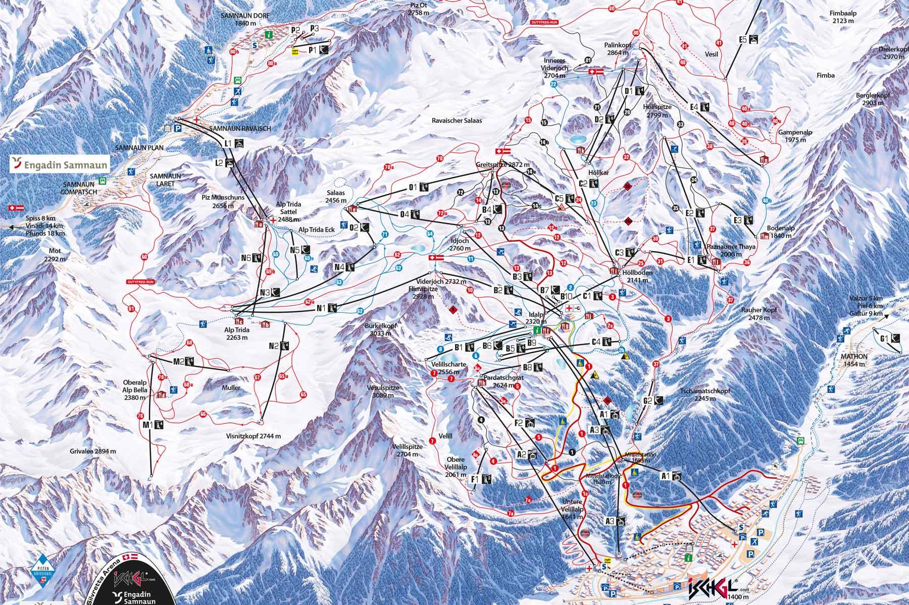 Chalet-Mathon-Silvretta-Skiarena-Pistenplan